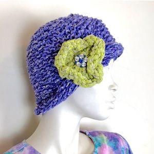 Vintage 90s 00s y2k purple chunky knit beanie hat